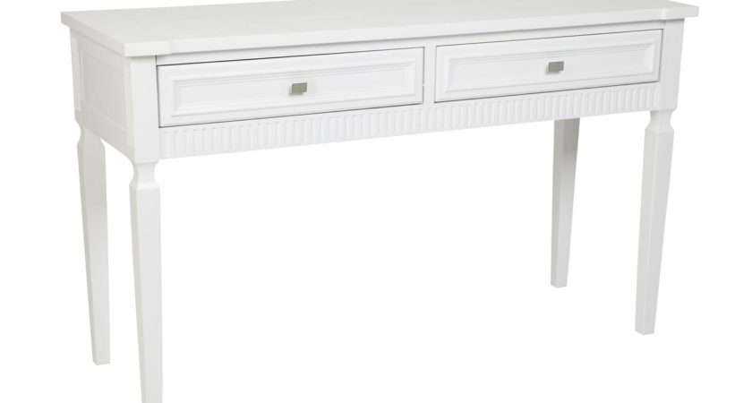 Retro White Painted Pine Wood Console Table Two