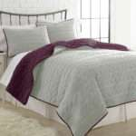 Reversible Coverlet Set Plum Silver Queen