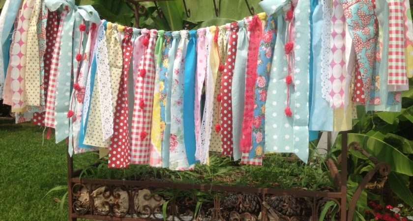 Ribbon Curtains Vintage Cath Kidston Fabric Garland Rustic