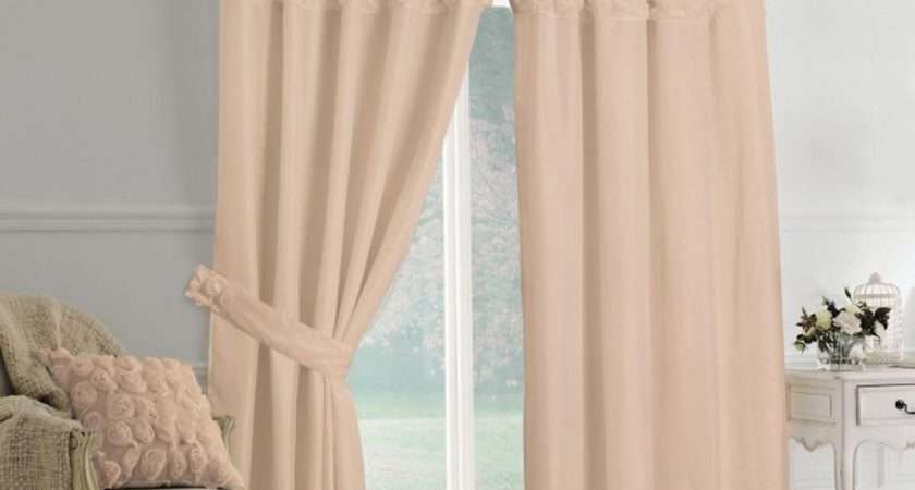 Rimini Roses Pencil Pleat Lined Voile Curtains Coffee