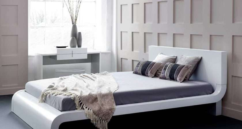 Roma White Modern Bed Platform Contemporary