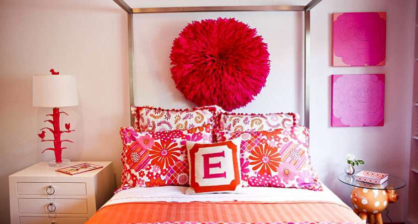 Room Day Pink Orange Girl Bedroom Table Tonic