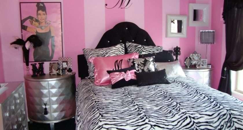 Room Ideas Pink Wall Black Headboard Silver Nightstand Gorgeous
