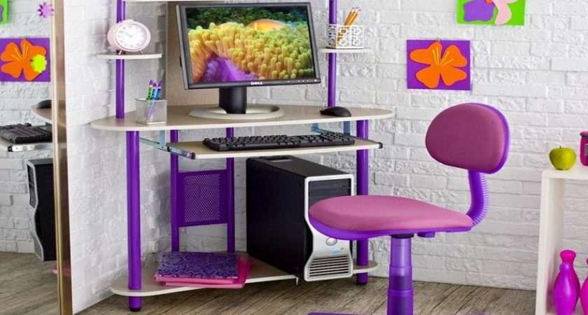 Room Ideas Teenage Girls Pink Purple Corner Computer Desk