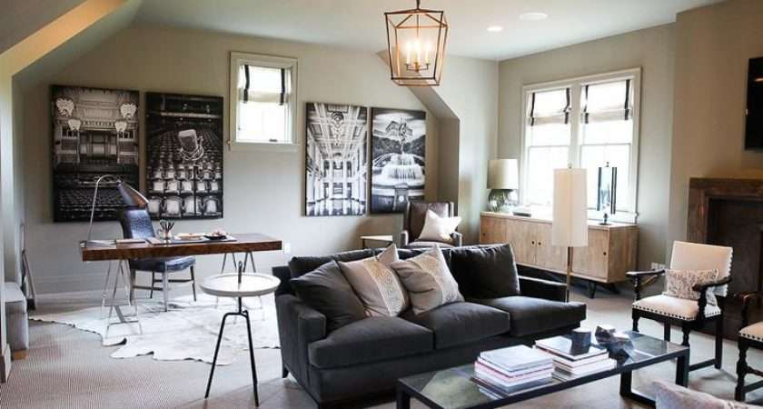 Room Office Combo Transitional Living Formal