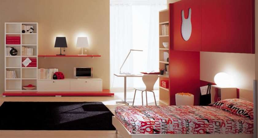 Room Red Color Decorating Your Children Modern Kids