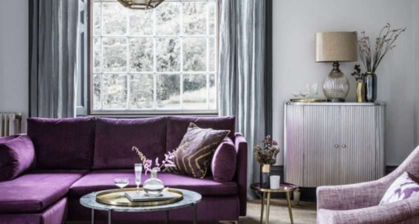 Room Reveal Purple Grey Living Sophie Robinson