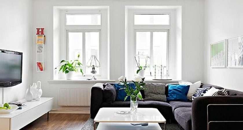 Room Scandinavian Narrow Living Ideas Shaped Black Sofa