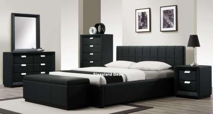 Rossi Luxury Matt Black Leather Bedroom Furniture Buy Bed Offer
