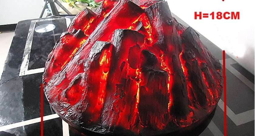 Round Electric Fireplace Simulation Charcoal Fake Firewood