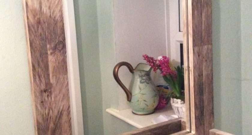Rustic Bathroom Mirror Made Reclaimed Pallet