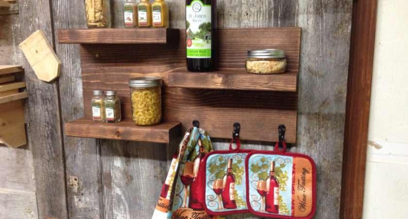 Rustic Floating Kitchen Storage Shelf Centercreekcreations