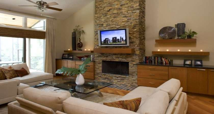 Rustic Living Room Fireplace Remodel