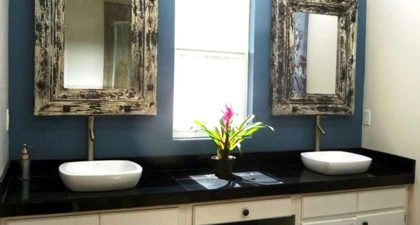 Rustic Wood Framed Bathroom Mirrors Home Design Unique
