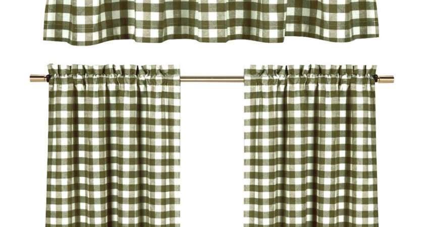 Sage Green Gingham Checkered Plaid Kitchen Tier Curtain