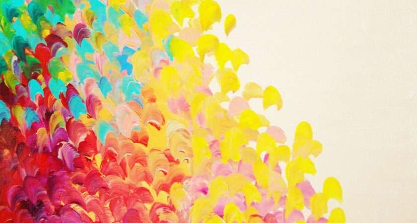 Sale Abstract Rainbow Splash Ooak Acrylic Painting Beach Coastal Wall