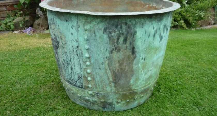 Salvoweb Large Antique Victorian Copper Garden Plant Pot