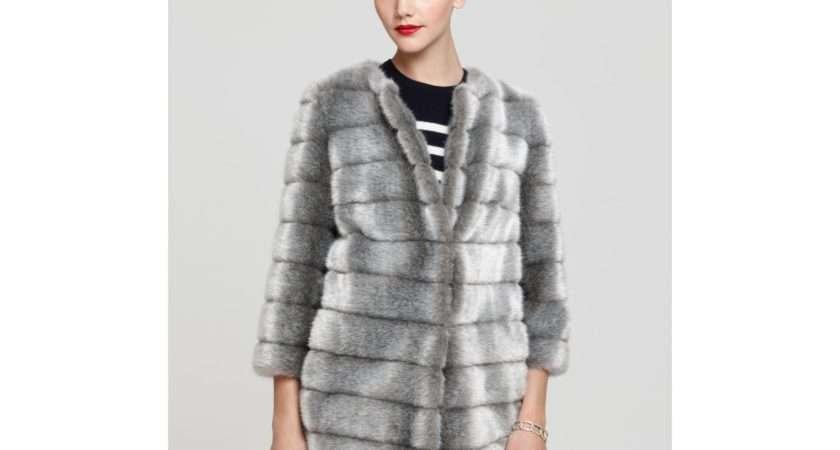 Sam Edelman Faux Mink Fur Coat Gray Grey Lyst