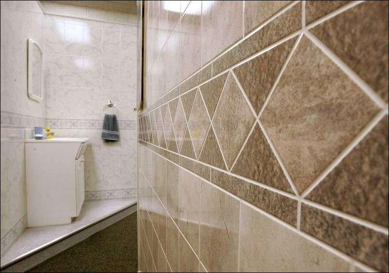 Samples Faux Tile Paneling Display Bathroom Setting