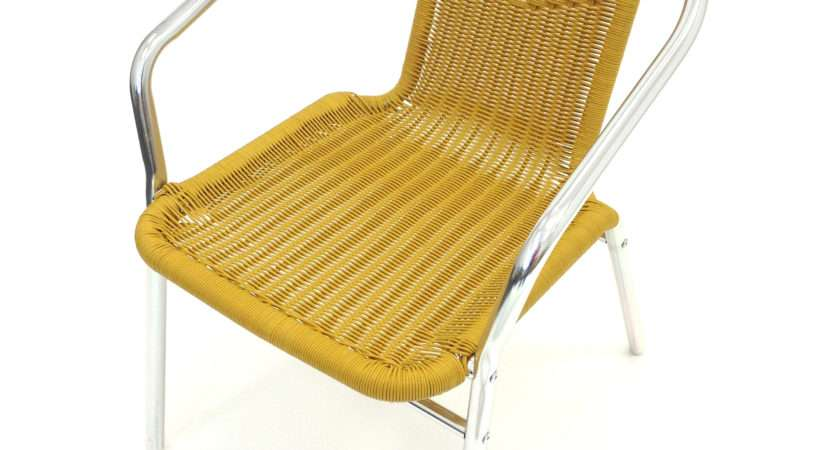 Sand Yellow Rattan Chair Aluminium Frame