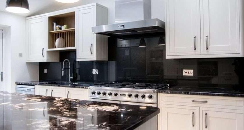 Satin Black Glass Splashback White Kitchen Modern