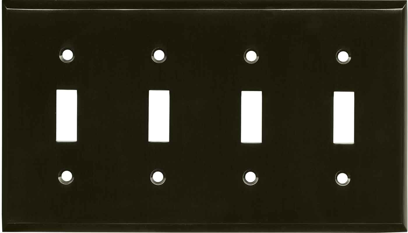 Satin Black Nickel Quad Toggle Light Switch Cover Plates