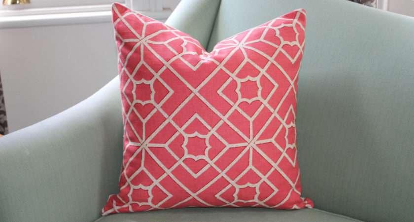 Schumacher Fretwork Coral Pink Cushion Aurelia