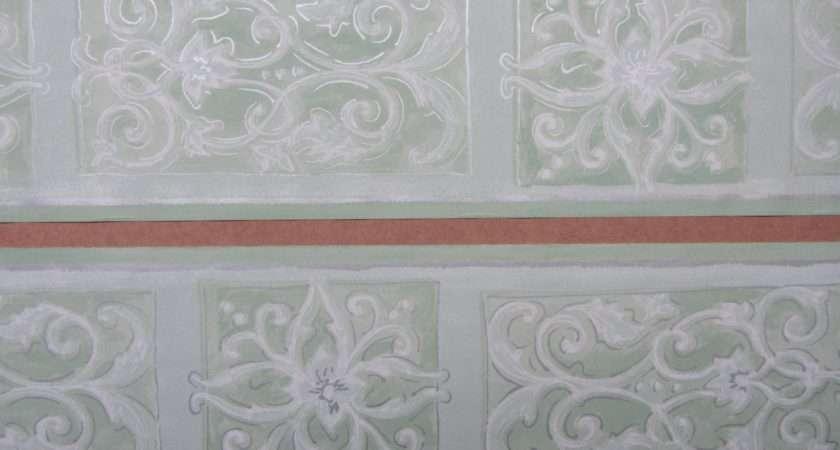 Scroll Green Border Self Adhesive Bedroom Hallway
