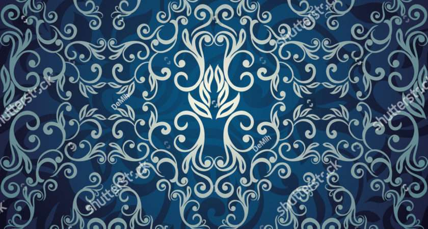 Seamless Abstract Floral Blue Elegant