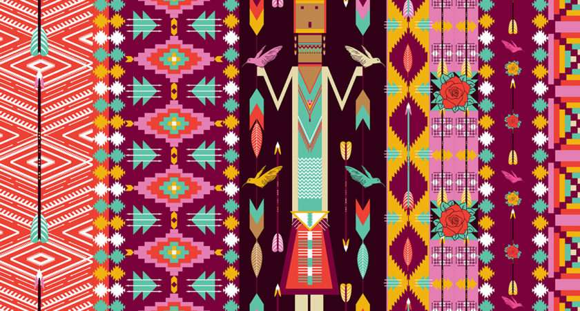 Seamless Colorful Aztec Pattern Patterns Creative Market
