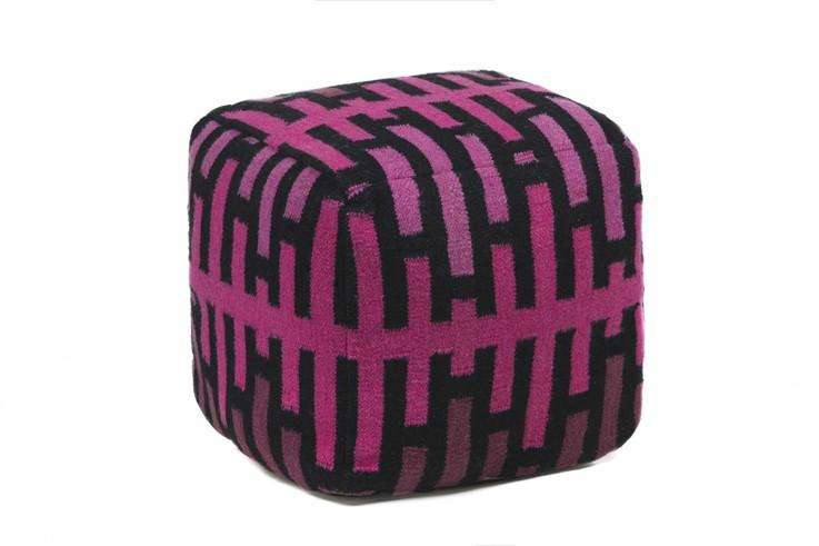 Seating Hand Knitted Contemporary Wool Pouf Burke Decor Pink