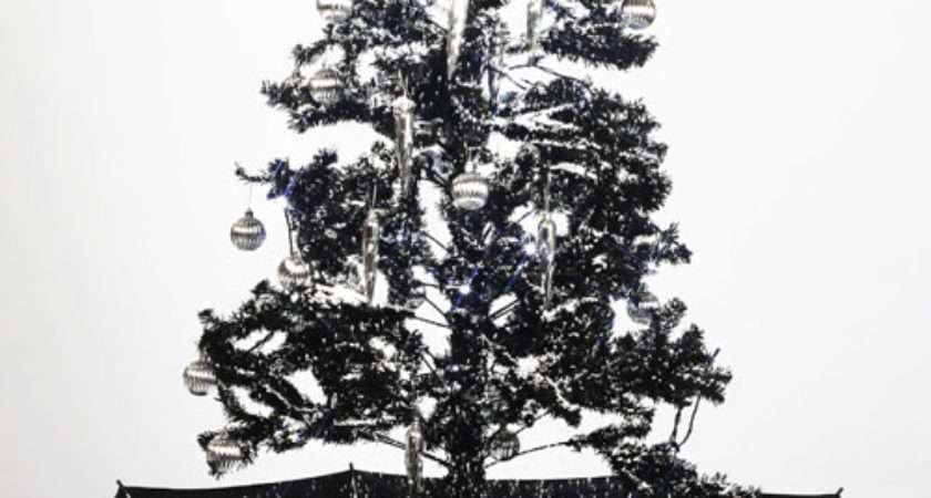 Self Snowing Artificial Christmas Tree Black Snow