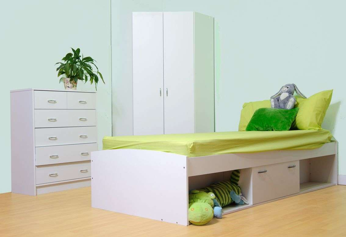 Set Childrens Bedroom Furniture Items Bed Wardrobe Chest
