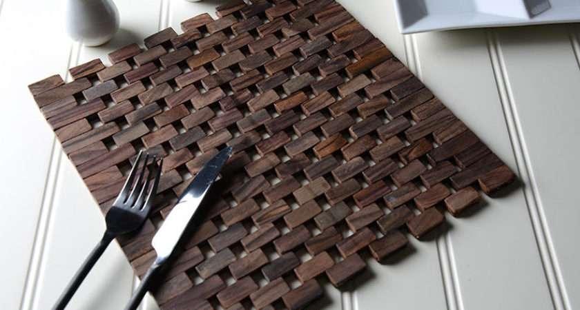Set Dark Wood Square Slatted Placemats Table Mats Ebay