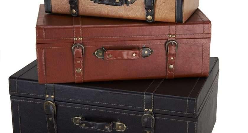 Set Faux Leather Suitcases Valerie Qvc