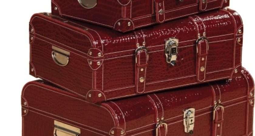 Set Textured Faux Leather Luggage Trunks Hayneedle