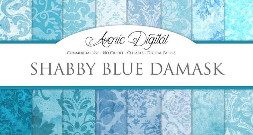 Shabby Chic Blue Damask Textures Aveniedigital