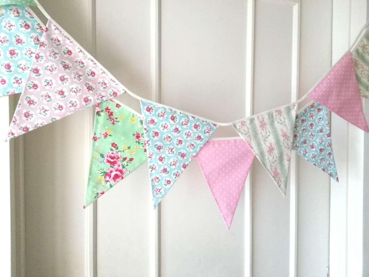 Shabby Chic Bunting Wedding Fabric Banner Garland Berryalamode