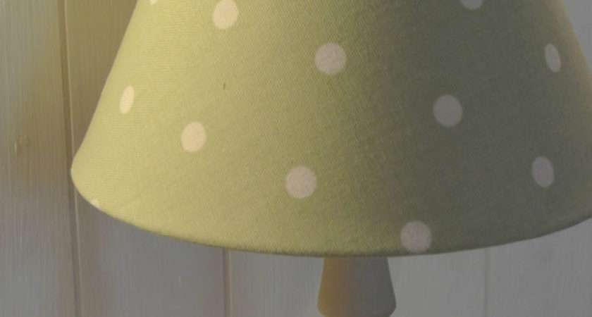 Shabby Chic Country Light Bedside Lamp Shade Sage Polka