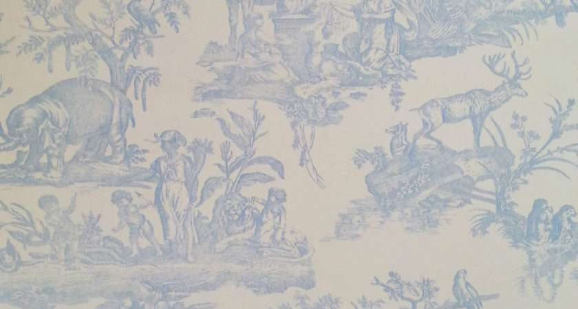 Shabby Chic French Toile Jouy Blue White Feature