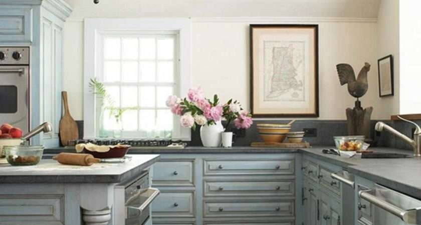 Shabby Chic Kitchen Cabinets Blue Color Ideas Home