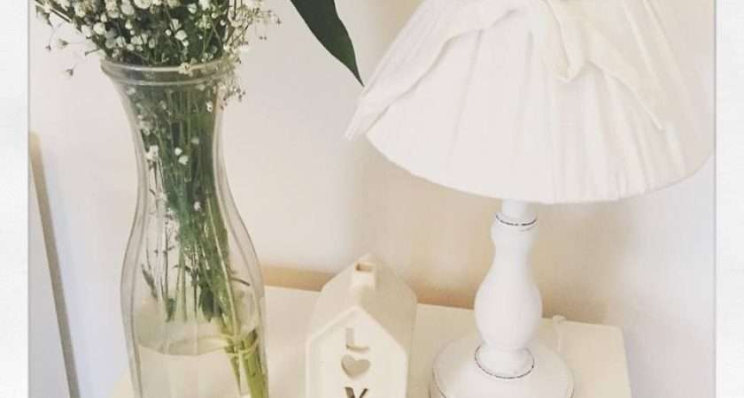 Shabby Chic Off White Bedside Wooden Lamp Base Bow Linen