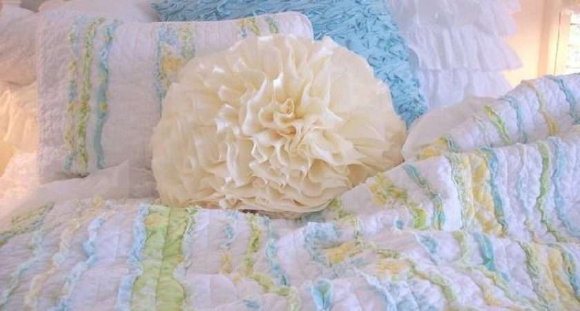 Shabby Chic Rag Quilts Bedding Cottage Pillows Shams