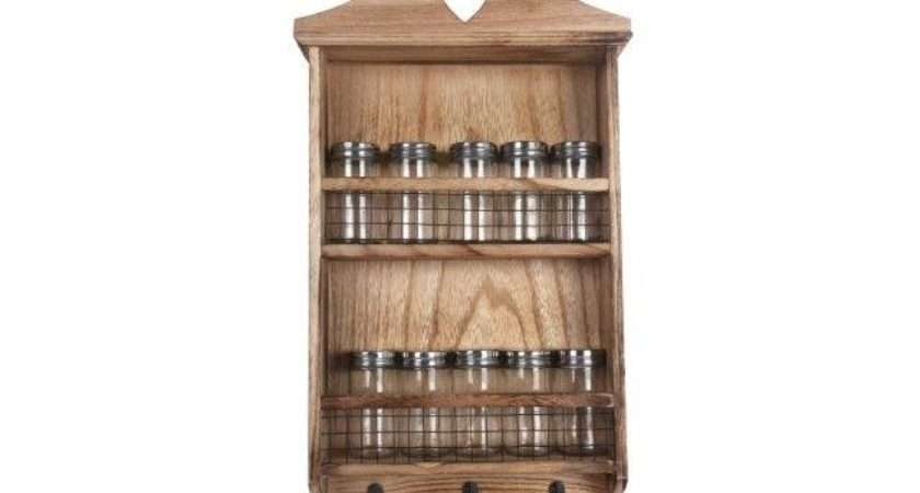 Shabby Chic Rustic Wooden Hanging Spice Rack Kitchen Herbs