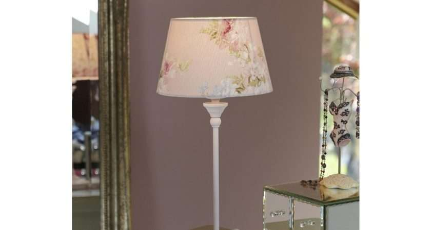 Shabby Chic Table Lamp Pink Floral Shade Country