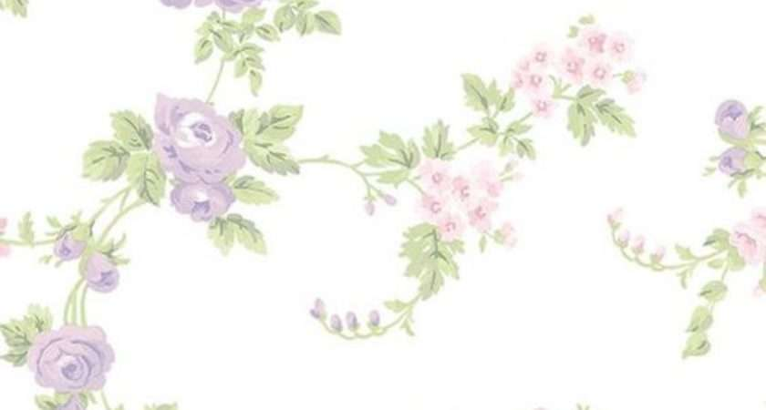 Shabby Cottage Purple Floral White Chic Country