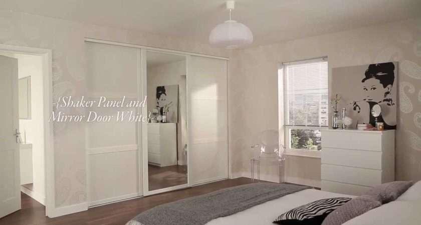 Shaker Panel Mirror Door White Sliding Wardrobe Doors