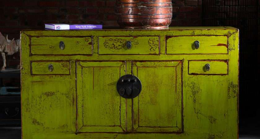 Shanxi Sideboard Lime Yellow Chinese Furniture