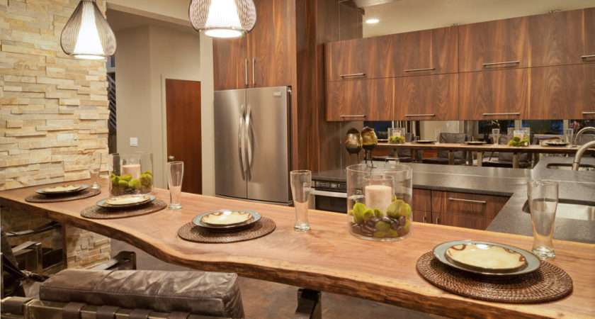 Shaped Kitchen Natural Wood Plank Eat Counter