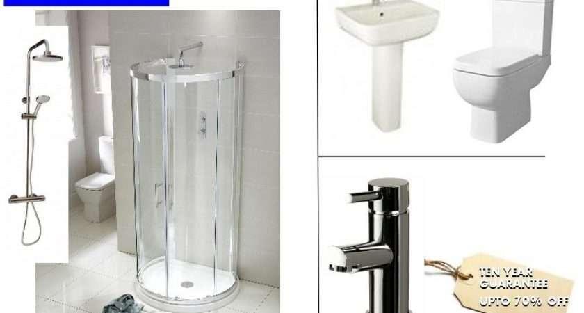 Shaped Shower Enclosure Suite Inc Basin Toilet Tray Taps